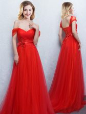 Spectacular Off The Shoulder Sleeveless Brush Train Lace Up Damas Dress Red Tulle