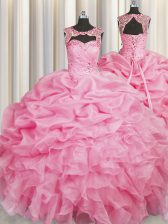 Modest Rose Pink Scoop Lace Up Beading and Pick Ups Ball Gown Prom Dress Sleeveless