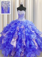 Visible Boning Sleeveless Lace Up Floor Length Beading and Ruffles and Sequins 15 Quinceanera Dress