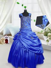 Pick Ups Floor Length Royal Blue Little Girls Pageant Gowns Straps Sleeveless Lace Up