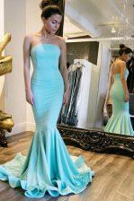 Classical Mermaid Strapless Sleeveless Sweep Train Zipper Prom Dresses Baby Blue Elastic Woven Satin