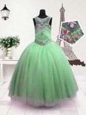 Wonderful Scoop Apple Green Sleeveless Beading Floor Length Little Girls Pageant Dress