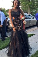 Traditional Black Mermaid Scoop Sleeveless Tulle Floor Length Backless Beading and Lace Prom Party Dress