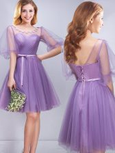 Scoop Lavender Half Sleeves Appliques and Ruching and Belt Mini Length Court Dresses for Sweet 16
