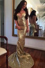 Mermaid Gold Sequined Backless Dress for Prom Sleeveless With Train Sweep Train Sequins
