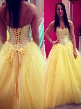 Gorgeous Yellow Lace Up Prom Dresses Sequins Sleeveless Floor Length