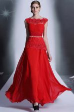Scalloped Red Sleeveless Beading and Lace Floor Length