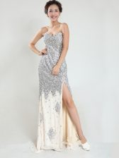Unique Sleeveless Sequined With Train Sweep Train Zipper Prom Dresses in Silver with Sequins
