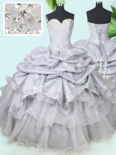 Grey Sweetheart Lace Up Beading and Sequins and Pick Ups Quinceanera Gowns Sleeveless
