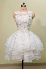 Scoop Sleeveless Zipper Knee Length Lace Prom Dress