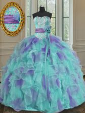High Quality Beading and Appliques and Ruffles and Sashes ribbons and Hand Made Flower Quince Ball Gowns Multi-color Lace Up Sleeveless Floor Length