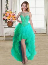 Luxurious Turquoise Lace Up Scoop Beading and Ruffles Dress for Prom Tulle Sleeveless