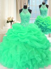 Custom Fit Three Piece Green High-neck Lace Up Beading and Pick Ups Quince Ball Gowns Sleeveless