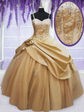 Champagne Sleeveless Beading and Appliques and Hand Made Flower Floor Length 15 Quinceanera Dress