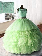Simple Scoop Sleeveless Brush Train Beading and Lace and Ruffles Zipper Sweet 16 Dresses