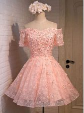 Off the Shoulder Mini Length Peach Prom Dress Lace Sleeveless Appliques