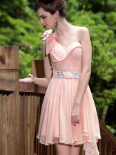 Gorgeous One Shoulder Pink Sleeveless Floor Length Beading Side Zipper Homecoming Dress