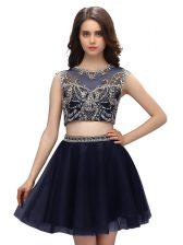 Scoop Navy Blue Criss Cross Dress for Prom Beading Sleeveless Mini Length
