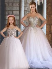 Fabulous White Ball Gowns Appliques 15 Quinceanera Dress Lace Up Tulle Sleeveless Floor Length