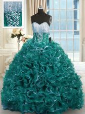 Best With Train Turquoise Sweet 16 Dresses Organza Brush Train Sleeveless Beading and Ruffles