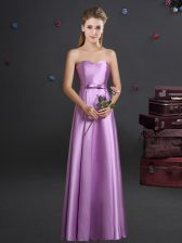 Artistic Lilac Empire Bowknot Dama Dress for Quinceanera Zipper Elastic Woven Satin Sleeveless Floor Length