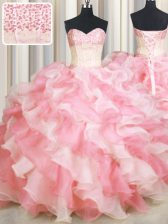 Vintage Visible Boning Two Tone Floor Length Ball Gowns Sleeveless Pink And White Ball Gown Prom Dress Lace Up