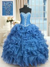Sweet Organza Sweetheart Sleeveless Lace Up Beading and Ruffles Quinceanera Gown in Baby Blue