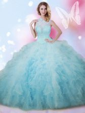 Exquisite High-neck Sleeveless Sweet 16 Quinceanera Dress Floor Length Beading and Ruffles Baby Blue Tulle