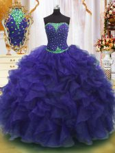 Sleeveless Floor Length Beading and Ruffles Lace Up Sweet 16 Dresses with Purple