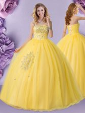 Gold Tulle Lace Up Strapless Sleeveless Floor Length 15th Birthday Dress Beading