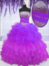 Multi-color Lace Up Sweet 16 Quinceanera Dress Beading and Ruffled Layers and Pick Ups Sleeveless Floor Length