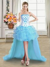 Light Blue Ball Gowns Strapless Sleeveless Tulle High Low Lace Up Beading and Appliques and Ruffles Prom Evening Gown