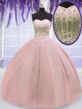 Stylish Sweetheart Sleeveless Lace Up Sweet 16 Dress Baby Pink Tulle