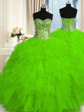 Custom Fit Sleeveless Lace Up Floor Length Beading and Ruffles 15th Birthday Dress