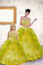 Yellow Sweetheart Lace Up Beading and Embroidery and Pick Ups Quinceanera Dresses Sleeveless