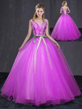 Fuchsia Sleeveless Appliques and Belt Floor Length 15th Birthday Dress
