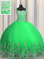 Romantic Floor Length Apple Green Vestidos de Quinceanera Straps Sleeveless Lace Up