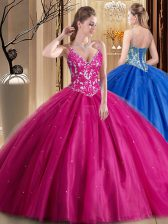 Decent Floor Length Lace Up Sweet 16 Dress Hot Pink for Military Ball and Sweet 16 and Quinceanera with Beading and Appliques