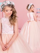 Scoop Champagne Sleeveless Tulle Lace Up Flower Girl Dress for Quinceanera and Wedding Party