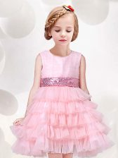 Baby Pink Tulle Zipper Scoop Sleeveless Mini Length Flower Girl Dresses Ruffled Layers and Sequins and Bowknot