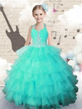 Turquoise Little Girls Pageant Dress Wholesale Party and Wedding Party with Beading and Ruffled Layers Halter Top Sleeveless Lace Up