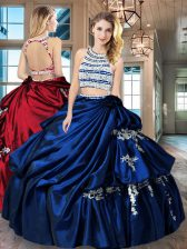 Scoop Royal Blue Taffeta Backless Ball Gown Prom Dress Sleeveless Floor Length Beading and Appliques and Pick Ups