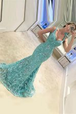 Adorable Mermaid Turquoise Prom Dresses Prom with Appliques Straps Sleeveless Sweep Train Zipper