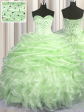 Yellow Green Lace Up Quinceanera Dress Beading and Ruffles and Pick Ups Sleeveless With Brush Train