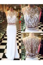 Scoop White Sleeveless Floor Length Beading and Appliques Zipper Prom Dresses
