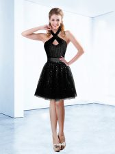 High Quality Halter Top Black Sleeveless Knee Length Sequins and Belt Zipper Dress for Prom