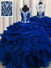 Luxurious Zipple Up See Through Back Organza Straps Sleeveless Zipper Beading and Ruffles and Sequins and Pick Ups Ball Gown Prom Dress in Royal Blue