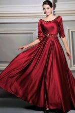 Shining Zipper Evening Dress Red for Prom and Party with Beading and Belt Brush Train