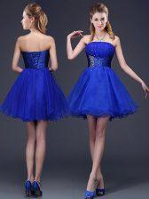 Hot Sale Royal Blue Organza Lace Up Strapless Sleeveless Mini Length Dama Dress Beading and Ruching