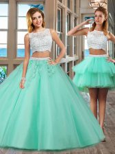 Exceptional Apple Green Bateau Side Zipper Beading and Appliques 15th Birthday Dress Sleeveless